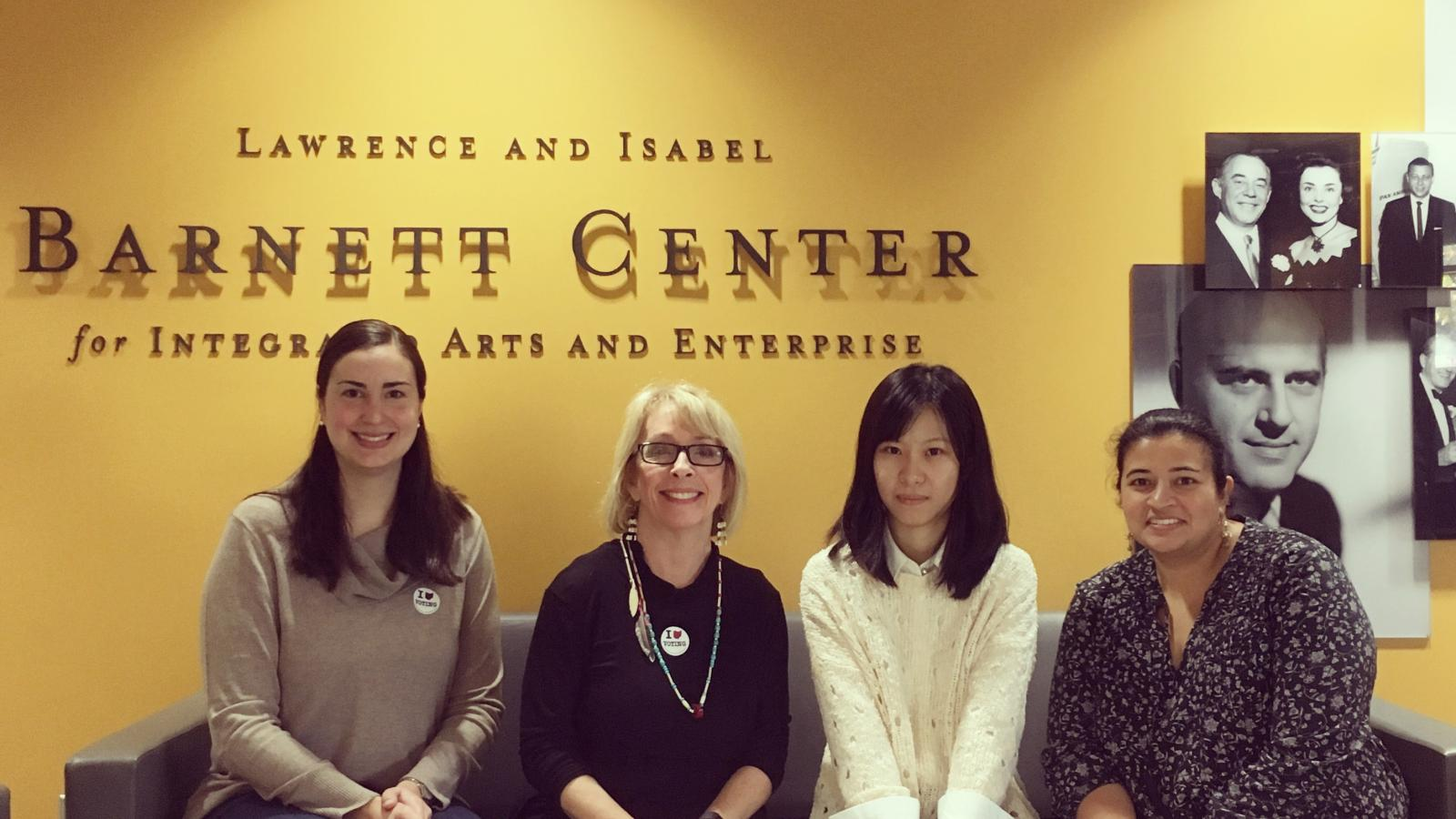 Barnett Fellows, Zoe Zwegat and Ying Chong Wang with Christine Ballengee Morris, Interim Director and Ketal Patel, The Barnett Center Graduate Associate after a Field School session at the Center